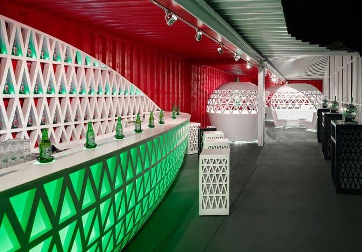 Heineken Pop Up City Lounge Bar at Night