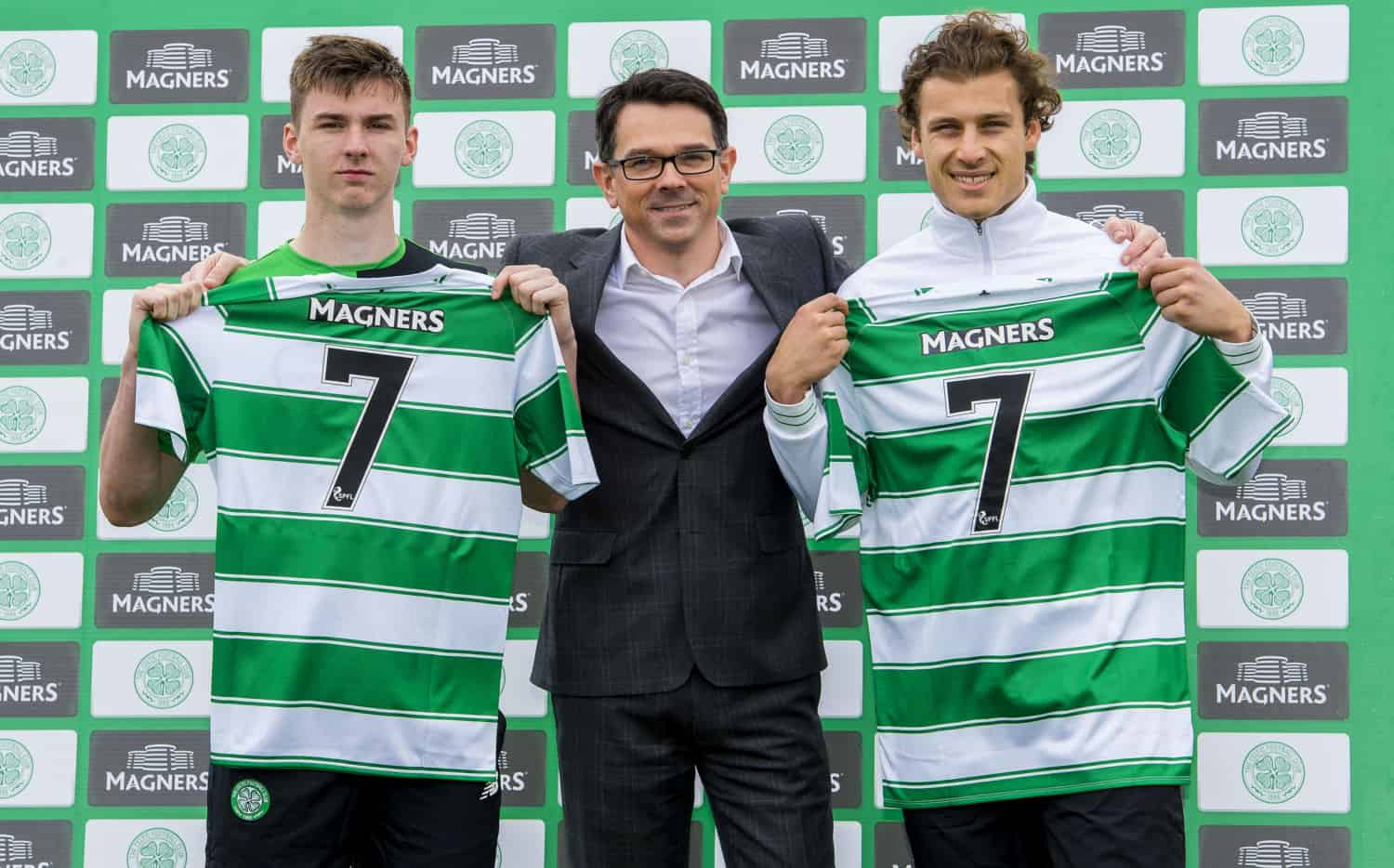 Celtics Kieran Tierney left and Erik Sviatchenko join Magners Paul Condron centre to announce a new partnership agreement