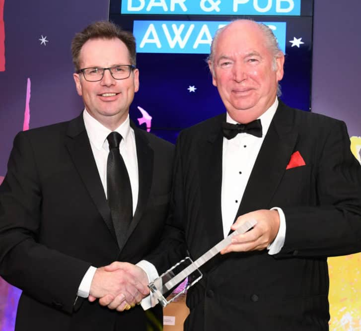 Alastair Campbell Managing Director of Tennents / Presented by Colin Beattie of Oran Mor