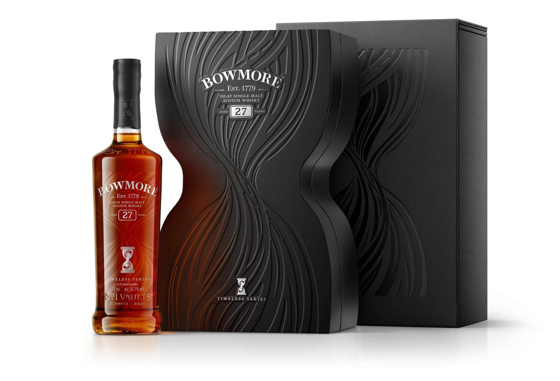 Bowmore-27-Timeless 700ml-NO-PROOF-Bottle-next-to-Inner-Closed-Box-Tertiary-Box v2 RGB300